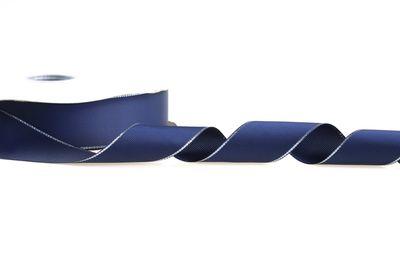 10m Dekoband Ripsband 38mm, marine blau m. silbernem Rand, Geschenkband