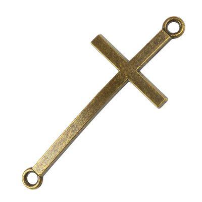 4 Kreuze gebogen 51,5x22mm, Öse 3mm, antikbronze - Basteln Armgelenk Glaube – Bild 1