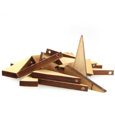 10 Holz-Anhänger Dreieck, 40,5x15x5mm Holzanhänger, Anhänger, natur – Bild 2
