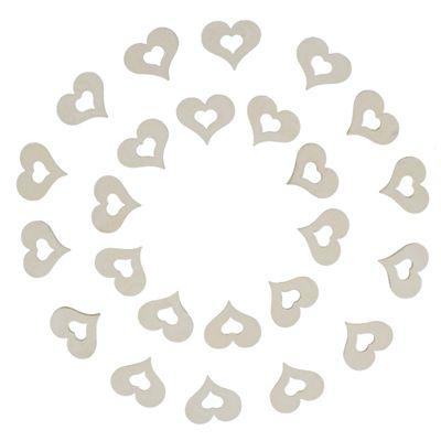 24 Herzen aus Holz, 17x20mm, Streudeko Holzornamente Scrapbooking, Farbwahl – Bild 3