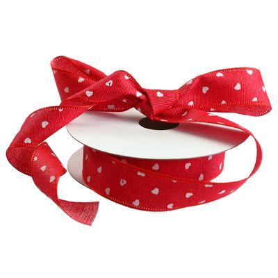 9m Dekoband Herzband 25mm Polyester, Geschenkband, rot mit weißen Herzen – Bild 1