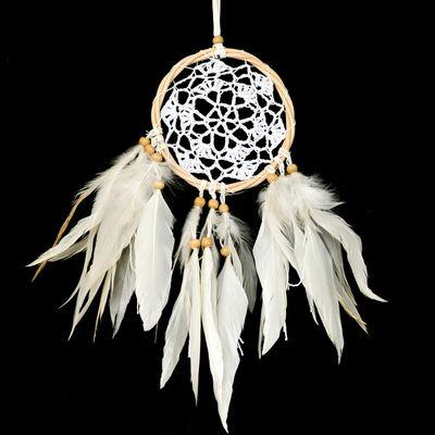 Traumfänger Dreamcatcher gehäkelt Rattanring Ø 12cm Länge ca. 43cm weiß Indianer