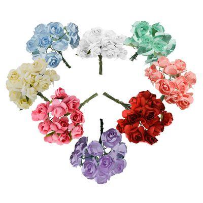 4 Bündel je 12 Rosen Röschen, Länge 7cm, Dekoration, Floristik, Farbe wählbar – Bild 1