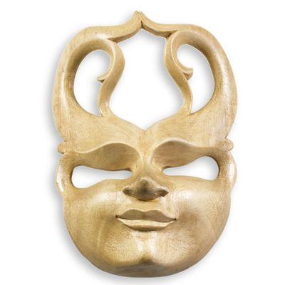Maske SPIRIT 20cm Hibiskusholz handmade Dekomaske Maske Holzmaske Wandmaske – Bild 6