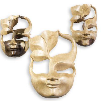 Maske SPIRIT 20cm Hibiskusholz handmade Dekomaske Maske Holzmaske Wandmaske – Bild 5