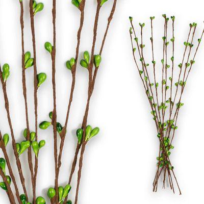 10 Deko Zweige mit Knospen 39cm, Farbwahl - Frühling Floristik Arrangieren – Bild 4
