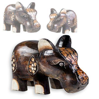 Happy Hippo, Nilpferd, Flusspferd, Albesia-Holz, Deko, Größe/Variante wählbar – Bild 4