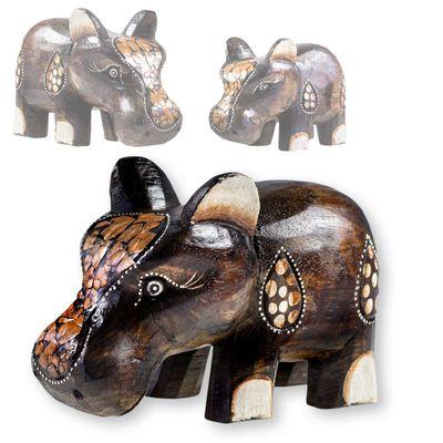 Happy Hippo, Nilpferd, Flusspferd, Albesia-Holz, Deko, Größe/Variante wählbar – Bild 5