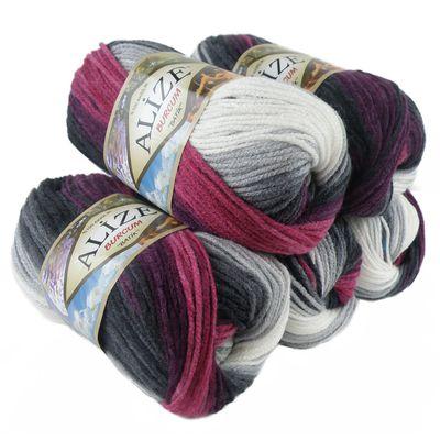 500g Strick-Garn ALIZE BURCUM Batik Strick-Wolle Handstrickgarn, Farbe wählbar – Bild 22