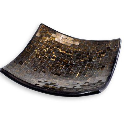 Schale Glasmosaik in warmen Gold-Brauntönen, Dekoschale, eckig, Größe wählbar – Bild 2