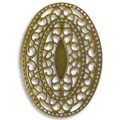 10 Deko-Ornament Verzierungen Scrapbooking oval 65x46x3mm bronze Metallornament – Bild 2