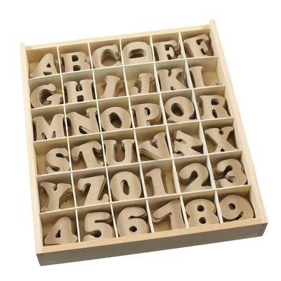 1 Holz Box Buchstaben + Zahlen 4cm, MDF, 288 Teile - Kiste Setzkasten Alphabet