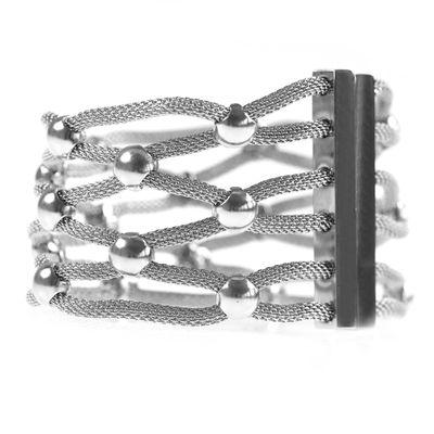 1 Edelstahl Armreif Armband mit Magnetverschluß, 180x45mm, silber