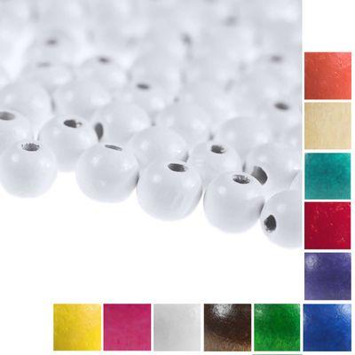 100 Holzperlen rund 12x11mm Bohrung 4mm Perle Holz A-Qualität Farbwahl  – Bild 6