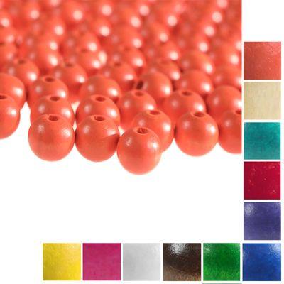 100 Holzperlen rund 12x11mm Bohrung 4mm Perle Holz A-Qualität Farbwahl  – Bild 12
