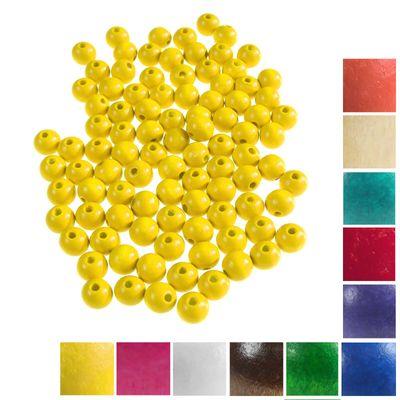 100 Holzperlen rund 12x11mm Bohrung 4mm Perle Holz A-Qualität Farbwahl  – Bild 2