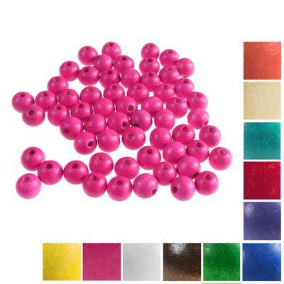 100 Holzperlen rund 12x11mm Bohrung 4mm Perle Holz A-Qualität Farbwahl  – Bild 17