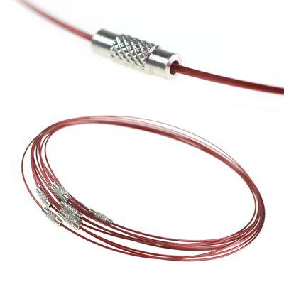10 Collier Halsreifen Halsketten 45cm, Stahldraht Gewindeverschluss, Farbwahl – Bild 12