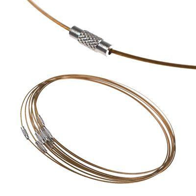 10 Collier Halsreifen Halsketten 45cm, Stahldraht Gewindeverschluss, Farbwahl – Bild 15