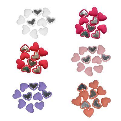 10 HERZ Stoffbuttons zum Aufkleben 15x18 mm, Farbwahl, verschiedene Farben