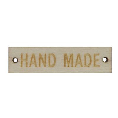 5 Holzschild Etiketten handmade 13x50mm, Farbwahl, Annäher Applikation Verbinder