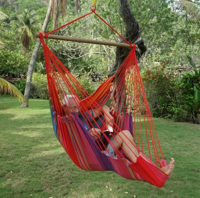 Hängesessel m. Fußteil Bio-Baumwolle AZO-frei gefärbt fair trade ohne Kissen – Bild 4