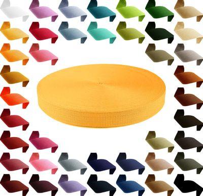 50m PP Gurtband, Polypropylen, 25mm breit, 1,3mm stark, Farbwahl 40 Farben