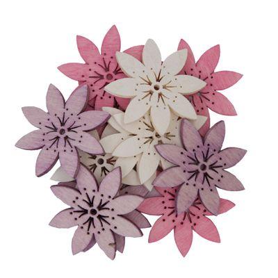 12 Holz-Deko Streudeko Schmetterling Vogel Blume Blüte, 40mm, Farbmix, Motivwahl – Bild 12