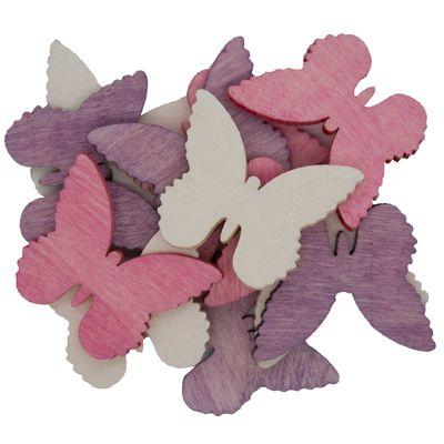 12 Holz-Deko Streudeko Schmetterling Vogel Blume Blüte, 40mm, Farbmix, Motivwahl – Bild 6