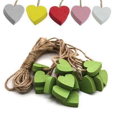 16 Deko-Hänger Holz-Anhänger, Herz, 22mm, Farbwahl Farbmix- Dekorieren Schmücken
