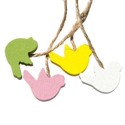 16 Deko-Hänger Holz-Anhänger, Vogel Vögelchen, 22mm, Farbwahl Farbmix – Bild 1