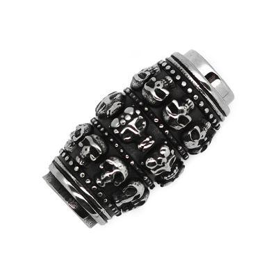 1 Edelstahl Magnetschließe Totenkopf 16x30mm Loch 8mm, Magnetverschluss, oval – Bild 1