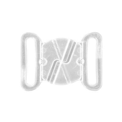 2 Paar Bikini Verschluss Kunststoff, Durchzug 18mm, transparent, Schließe Klick – Bild 3