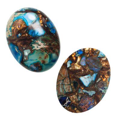 1 Cabochon Gold Kupfer Stein Synthetik Kunststoff Klebestein, oval 40x31x9mm – Bild 2