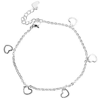 Edelstahl filigranes Armband Motiv Herz Karabiner Verschluss, 180 mm, silber