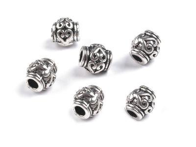10 Schmuck-Perlen Metallperle Zwischenelement Spacer 7x6mm antik-silber -messing – Bild 2