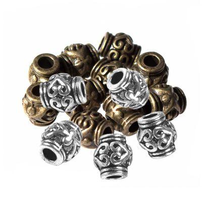 10 Schmuck-Perlen Metallperle Zwischenelement Spacer 7x6mm antik-silber -messing