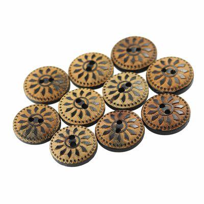 10 Holzknöpfe Kokosnuss mit Muster Motiv 13mm, 2-Loch, rund, braun – Bild 2