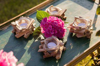 4 Teelichthalter Meeresfeeling 12 x 6 cm m. Glaseinsatz, Treibholz Kerzenhalter