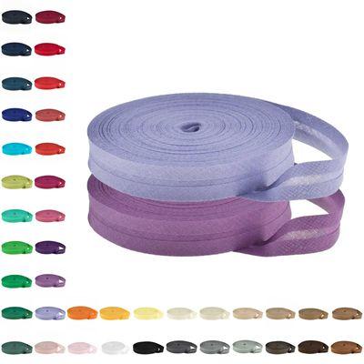 25m Baumwoll-Schrägband 14mm gefalzt, Farbwahl - Einfassband Nahtband Kantenband