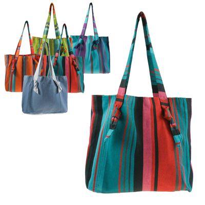 Umhängetasche Bio-Baumwolle Fair Trade handmade - Einkaufstasche Shopper Strandtasche – Bild 6