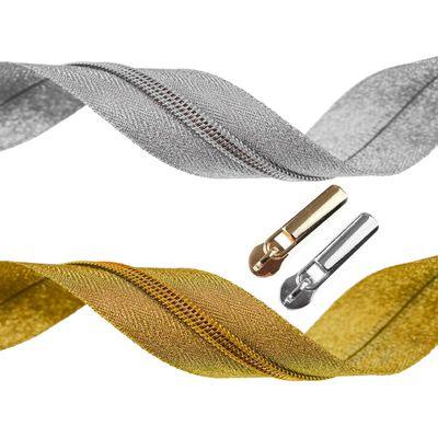 6m Endlos-Reißverschluss 5mm gold / silber m. 15 Zippern + 15 Endstücken – Bild 1