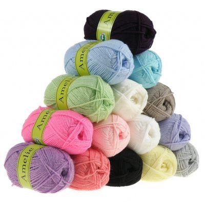 10 x 50g Strickgarn AMELIE Strick-Wolle Handstrickgarn Baby Kinder waschbar – Bild 1