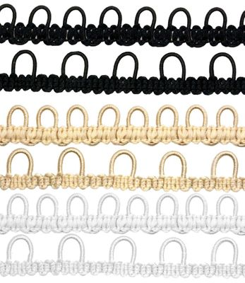 2m Schlingenband Gummi Ösen-Band Borte m. elastischen Ösen für Knöpfe 15mm