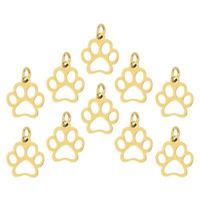 10 Edelstahl Anhänger Hundepfote 13x12mm Pfote Hund Tier Pfotenabdruck Farbwahl  – Bild 4