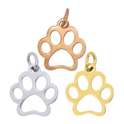 10 Edelstahl Anhänger Hundepfote 13x12mm Pfote Hund Tier Pfotenabdruck Farbwahl  – Bild 1