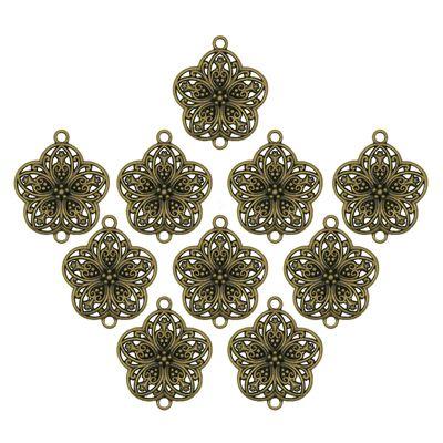 10 Verbinder Blumen Zwischenstücke floral 38x31mm antikmessing - Blüte Ornament – Bild 1