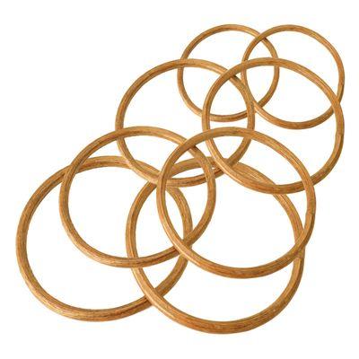 2 Holz Bambus-Ringe Taschengriffe Traumfänger-Ringe, Größenwahl naturfarben – Bild 1