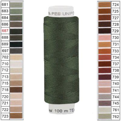 100m / 1 Spule Unipoly 120 TEX14x2 Polyester Nähgarn Artikel 5v6 Farbwahl – Bild 5