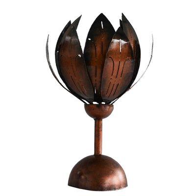 Teelichthalter Metall Blüte auf Standfuß 20x20x34cm schwarz m. kupfer finish
